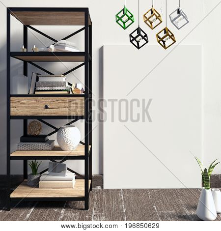 3d illustration modern interior with rack poster and lamp. poster mock up