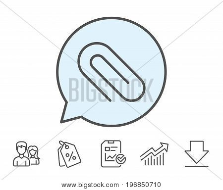 Attach line icon. Attachment paper clip sign. Office stationery object symbol. Report, Sale Coupons and Chart line signs. Download, Group icons. Editable stroke. Vector