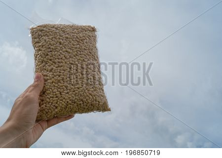 Pack of pine nuts in the female hand on the blue sky backdrop. Concept of proper nutrition and health