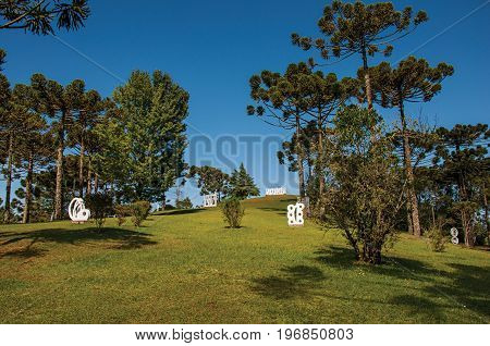 Campos do Jordão, Brazil - January 17, 2015. Garden with sculptures part of the open-air Museum Felicia Leirner, near Campos do Jordão, famous for its mountain and hiking tourism. São Paulo State.