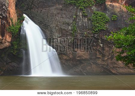 tropical rain forest waterfall in jungle of Thailand