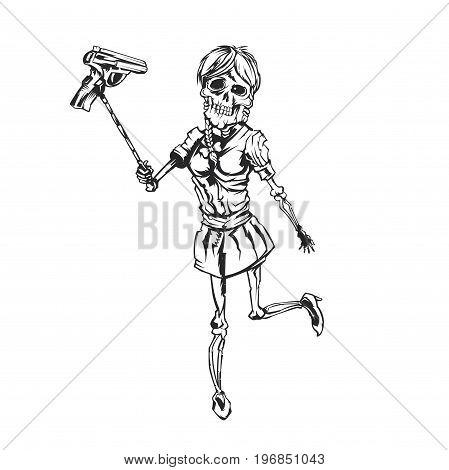 Isolated illustration of skeleton girl holding pistol on the selfish stick