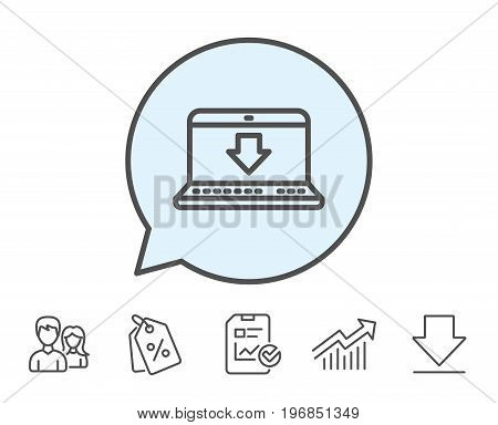 Download line icon. Internet Downloading with Laptop sign. Load file symbol. Report, Sale Coupons and Chart line signs. Download, Group icons. Editable stroke. Vector