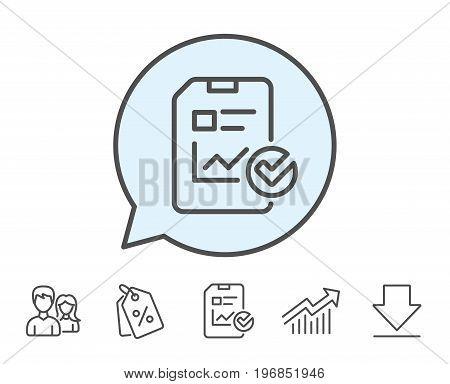 Report document line icon. Analysis Chart or Sales growth report sign. Statistics data or Checklist symbol. Report, Sale Coupons and Chart line signs. Download, Group icons. Editable stroke. Vector