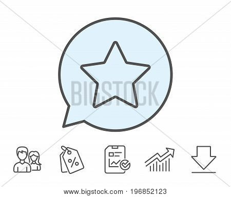 Star line icon. Best rank sign. Bookmark or Favorite symbol. Report, Sale Coupons and Chart line signs. Download, Group icons. Editable stroke. Vector