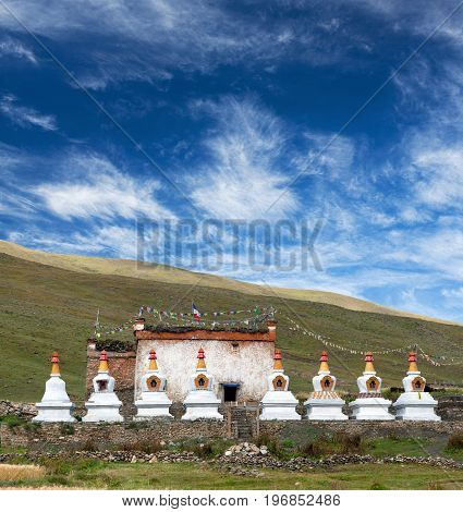 Ancient Bon-Po stupa and monastery in Dho Tarap village, Dolpo, Nepal