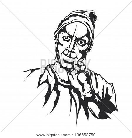 Isolated vector illustration of an angry men