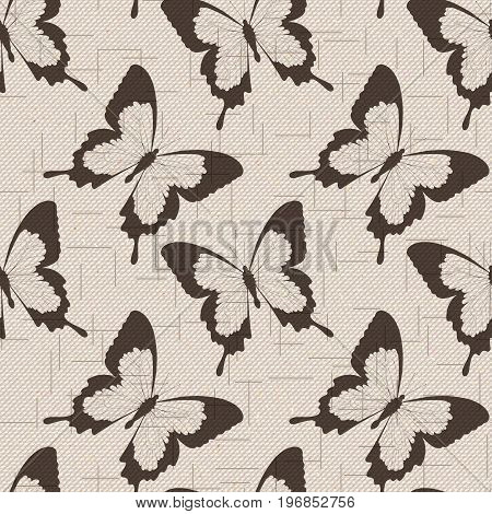 Realistic seamless cotton sailcloth texture with detailed flying butterflies. Abstract rough sackcloth fabric. Beige linen canvas texture. Vector design.