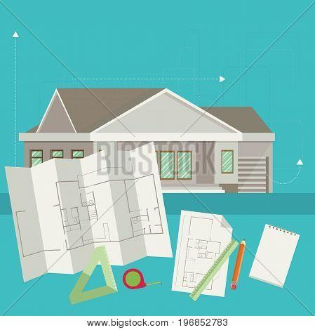 Set of vector architect concept design flat line