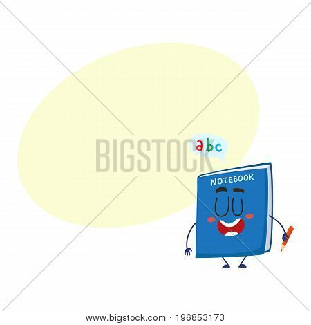 Cute and funny school notebook, notepad character with smiling human face holding a pencil, cartoon vector illustration with space for text. Smiling student notebook character, mascot