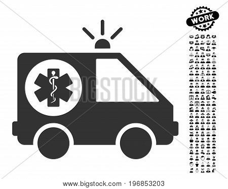Ambulance Car icon with black bonus profession clip art. Ambulance Car vector illustration style is a flat gray iconic element for web design, app user interfaces.