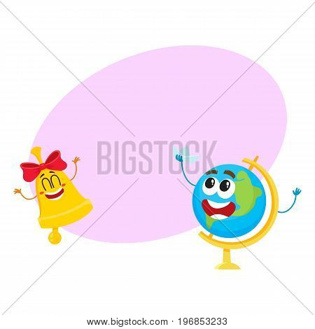 Cute and funny smiling globe and golden bell characters, back to school concept, cartoon vector illustration with space for text. Happy school bell and globe characters, mascots