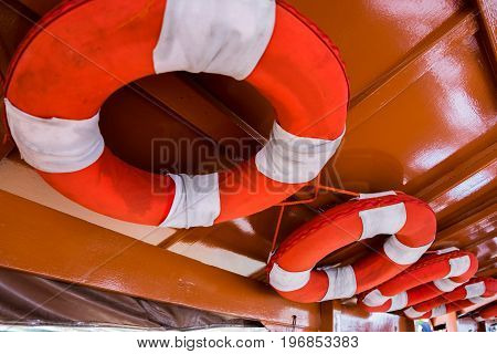 In the boat there will be hanging rubber float rings. For the safety of passengers.