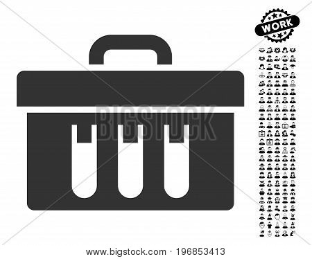 Analysis Tubes Case icon with black bonus profession pictures. Analysis Tubes Case vector illustration style is a flat gray iconic element for web design, app user interfaces.