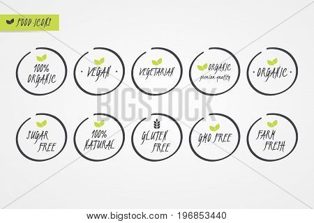 100% Organic Natural Gluten Sugar GMO Free Vegan Vegetarian Farm Fresh label. Food logo icons. Vector green and white circle signs isolated. Illustration symbol for product packaging healthy eating
