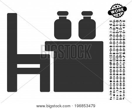 Apothecary Table icon with black bonus people clip art. Apothecary Table vector illustration style is a flat gray iconic symbol for web design, app user interfaces.