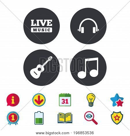 Musical elements icons. Musical note key and Live music symbols. Headphones and acoustic guitar signs. Calendar, Information and Download signs. Stars, Award and Book icons. Vector