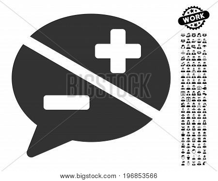 Arguments icon with black bonus people clip art. Arguments vector illustration style is a flat gray iconic element for web design, app user interfaces.