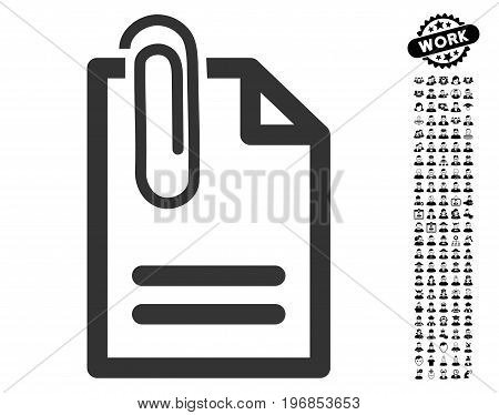 Attach Document icon with black bonus people pictograph collection. Attach Document vector illustration style is a flat gray iconic symbol for web design, app user interfaces.