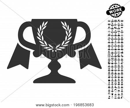 Award Cup icon with black bonus men images. Award Cup vector illustration style is a flat gray iconic element for web design, app user interfaces.