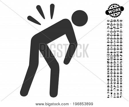 Backache icon with black bonus men pictograph collection. Backache vector illustration style is a flat gray iconic element for web design, app user interfaces.