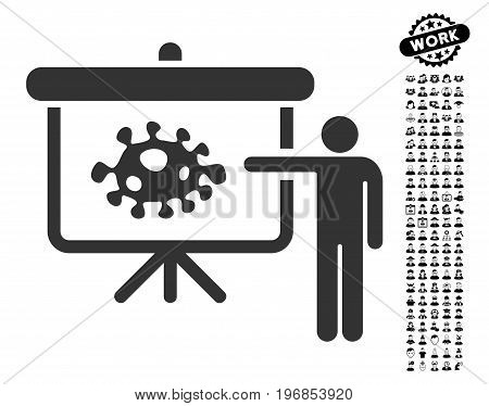 Bacteria Lecture icon with black bonus professional pictograph collection. Bacteria Lecture vector illustration style is a flat gray iconic symbol for web design, app user interfaces.