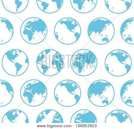 Blue Globe Earth Map Background Pattern Geography and Communication Concept for Web. Vector illustration