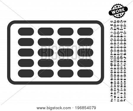 Blister icon with black bonus work pictograms. Blister vector illustration style is a flat gray iconic symbol for web design, app user interfaces.