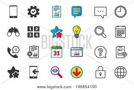 Phone icons. Smartphone incoming call sign. Call center support symbol. Cellphone keyboard symbol. Chat, Report and Calendar signs. Stars, Statistics and Download icons. Question, Clock and Globe