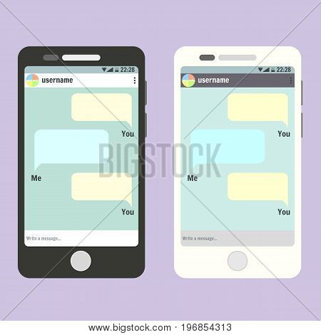 Flat vector smartphone with open social network messanger app with post place for text. Phone mockup template for message conversation design banner web