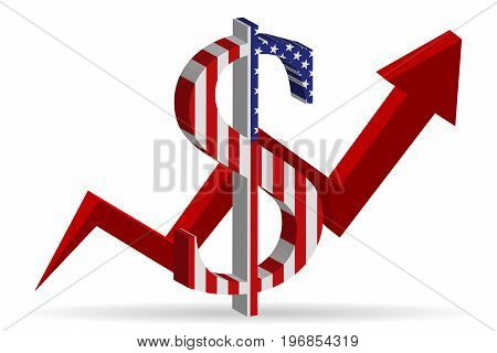 Three-dimensional mark the U.S. dollar with growing chart. Vector illustration.