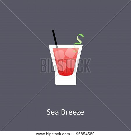 Sea Breeze cocktail icon on dark background in flat style. Vector illustration