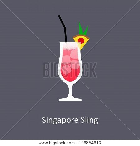 Singapore Sling cocktail icon on dark background in flat style. Vector illustration