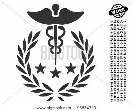 Caduceus Logo icon with black bonus men icon set. Caduceus Logo vector illustration style is a flat gray iconic symbol for web design, app user interfaces.