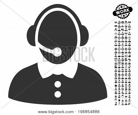 Call Center Woman icon with black bonus people design elements. Call Center Woman vector illustration style is a flat gray iconic symbol for web design, app user interfaces.