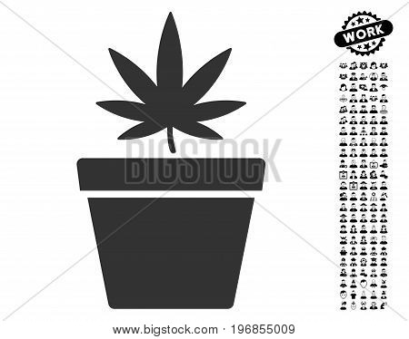 Cannabis Pot icon with black bonus work pictograph collection. Cannabis Pot vector illustration style is a flat gray iconic symbol for web design, app user interfaces.