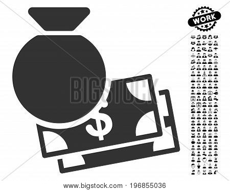 Capital icon with black bonus work graphic icons. Capital vector illustration style is a flat gray iconic element for web design, app user interfaces.