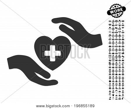 Cardiology Care Hands icon with black bonus work design elements. Cardiology Care Hands vector illustration style is a flat gray iconic element for web design, app user interfaces.