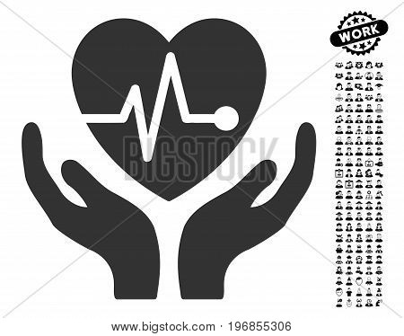 Cardiology icon with black bonus job icon set. Cardiology vector illustration style is a flat gray iconic symbol for web design, app user interfaces.