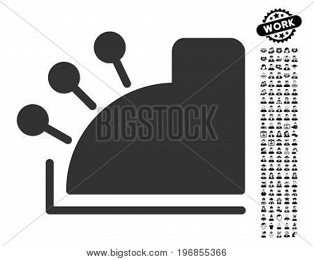Cash Machine icon with black bonus men clip art. Cash Machine vector illustration style is a flat gray iconic symbol for web design, app user interfaces.