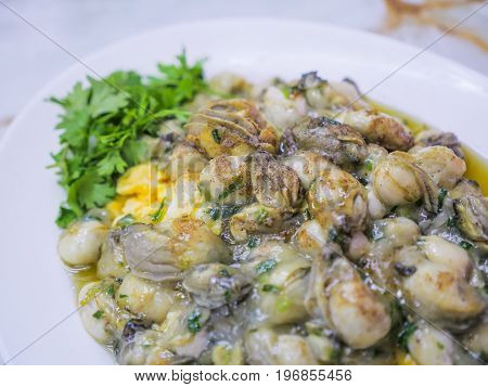 Oyster Omelette, Chinese Cuisine. Tradition Food.