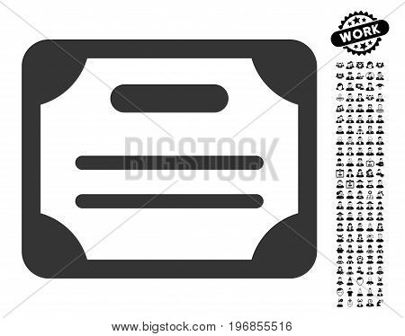 Certificate icon with black bonus work pictograph collection. Certificate vector illustration style is a flat gray iconic symbol for web design, app user interfaces.