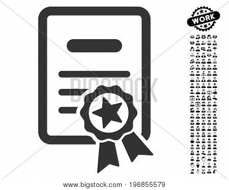 Certified Diploma icon with black bonus profession pictures. Certified Diploma vector illustration style is a flat gray iconic symbol for web design, app user interfaces.