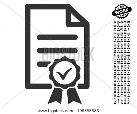 Certified icon with black bonus job design elements. Certified vector illustration style is a flat gray iconic element for web design, app user interfaces.