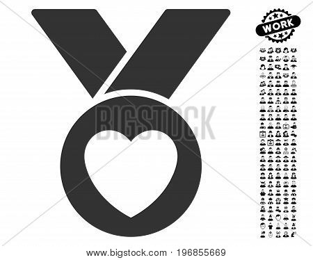 Charity Medal icon with black bonus professional graphic icons. Charity Medal vector illustration style is a flat gray iconic symbol for web design, app user interfaces.