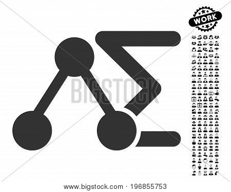 Chemical Formula icon with black bonus job pictograms. Chemical Formula vector illustration style is a flat gray iconic symbol for web design, app user interfaces.