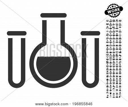 Chemical Vessels icon with black bonus work pictograph collection. Chemical Vessels vector illustration style is a flat gray iconic element for web design, app user interfaces.