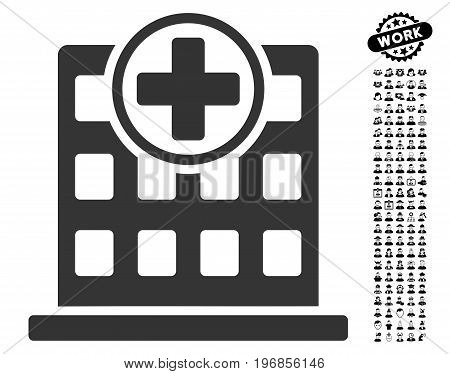 Clinic Building icon with black bonus men icon set. Clinic Building vector illustration style is a flat gray iconic element for web design, app user interfaces.