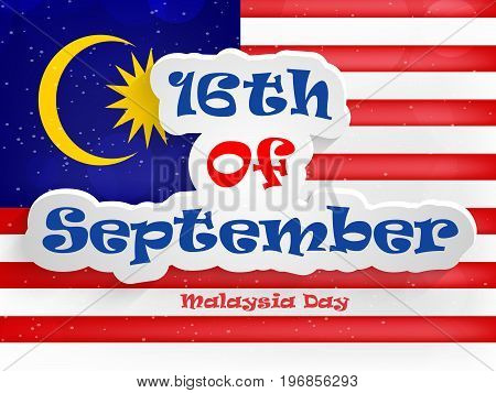 illustration of 16th of September Malaysia Day text on Malaysia flag background on the occasion of Malaysia Independence Day