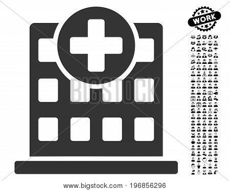 Clinic Facade icon with black bonus men clip art. Clinic Facade vector illustration style is a flat gray iconic symbol for web design, app user interfaces.